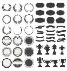 vintage premium styled ribbons badge laurels vector image