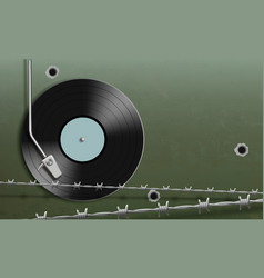 vinyl record disc behind barbed wire and bullet vector image