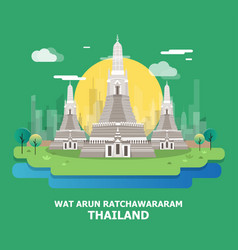 Wat arun ratchawararam historical temple in vector