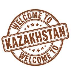 Welcome to kazakhstan brown round vintage stamp vector