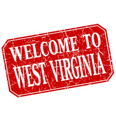 Welcome to west virginia red square grunge stamp vector