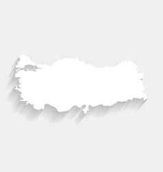 white turkey map on gray background vector image