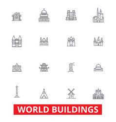 world buildings pagoda cottage villa mansion vector image