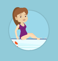 young happy woman tanning on sailboat vector image