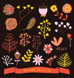 beautiful flowers set cute doodle dark background vector image