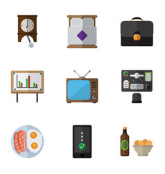 flat icon life set of whiteboard clock vector image