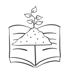 hand draw book and plant vector image vector image