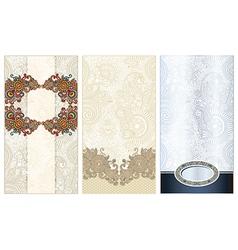 ornate three ornamental floral pattern vector image