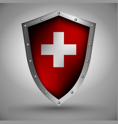 shield with the swiss flag vector image vector image