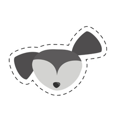 small dog face gray pet line dotted vector image vector image