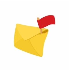 Yellow envelope and red flag icon cartoon style vector image vector image