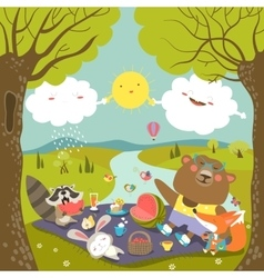 Animals at picnic in forest vector image