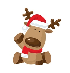 Christmas Reindeer with a raised right hoof vector image vector image