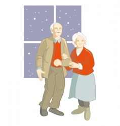 elderly couple vector image vector image