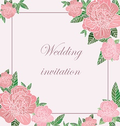 Greeting card with peonies vector image vector image