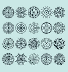hand drawn henna abstract mandala pattern flowers vector image vector image