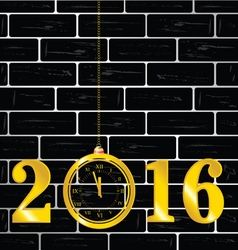 happy new year 2016 with clock vector image