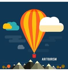 Hot air balloon flying over the mountain vector image vector image