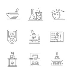 laboratory equipment flat line icons set vector image vector image