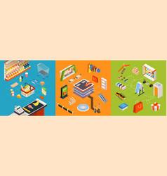 supermarket furniture isometric set vector image vector image