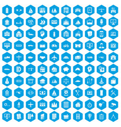 100 private property icons set blue vector image