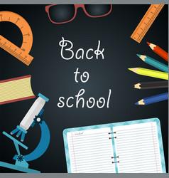 back to school blackboard with school supplies vector image
