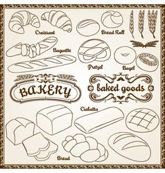 outline bakery set vector image