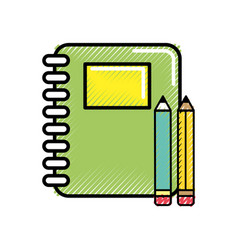 rings notebook tool with pencils icon vector image