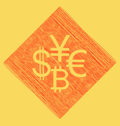 currency sign collection dollar euro bitcoin vector image