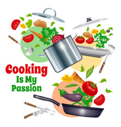 kitchenware and vegetables composition vector image vector image