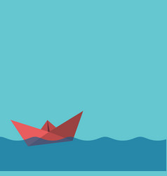 one red paper boat vector image vector image