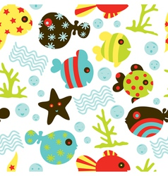 seamless fish pattern vector image vector image
