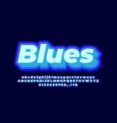 3d layered blue light text effect or font effect vector