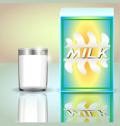 a carton of milk and a glass of milk vector image