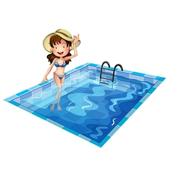 A girl wearing swimsuit at the pool vector