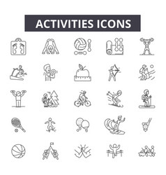 activities line icons editable stroke signs vector image