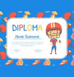american football diploma sport achievements vector image