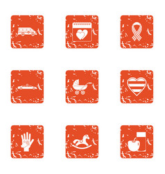 Amour icons set grunge style vector