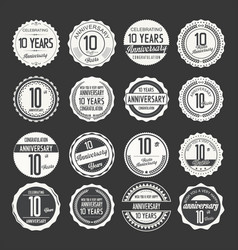 Anniversary retro labels 10 years collection 3 vector