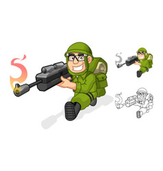 Army Aiming a Rifle with Shoot Pose vector image