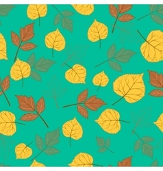 Autumn leaves on emerald green vector