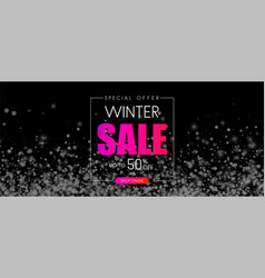 Black winter 50 off sale promo banner with snow vector