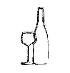 blurred sketch contour wine bottle and glass cup vector image