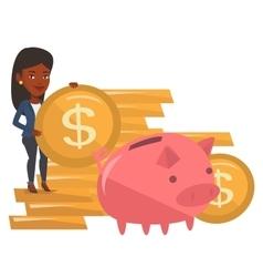 Businesswoman putting coin in piggy bank vector