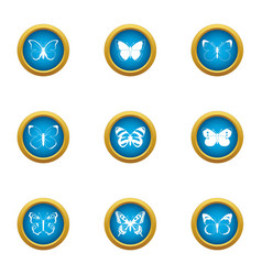 Butterfly pattern icons set flat style vector
