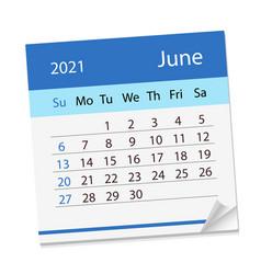 Calendar sheet on month june 2021 vector