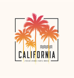California ocean avenue tee print with palm trees vector