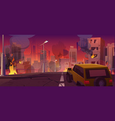 Car on city street with ruins and fire vector