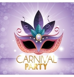 Carnival party mask purple bright background vector