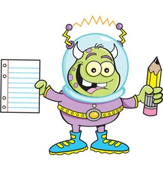 Cartoon alien holding a paper and pencil vector